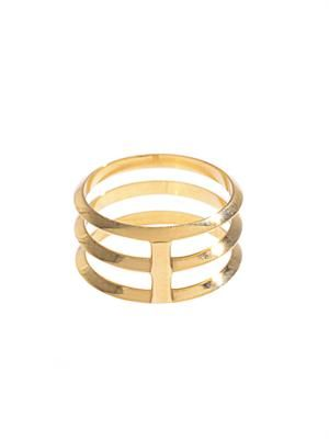 Tripe disc gold ring