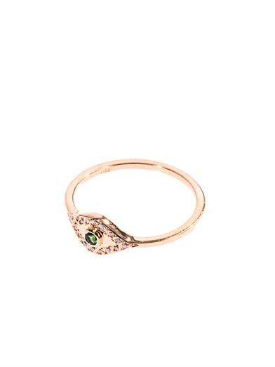 Ileana Makri Diamond, tsavorite & gold wisdom eye ring
