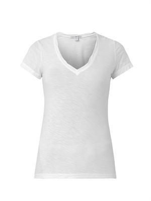 V-neck slub-cotton T-shirt