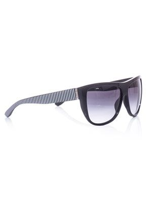 D-frame striped-arm sunglasses
