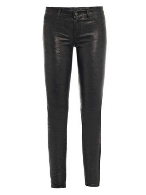 L8001 Leather mid-rise super-skinny jeans