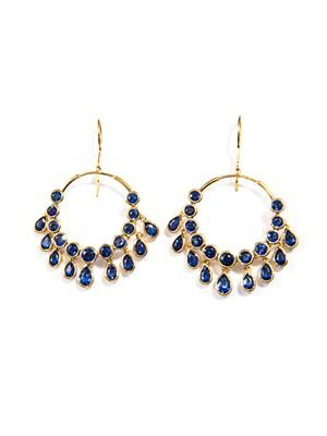 Kyanite & gold-plated gypsy earrings