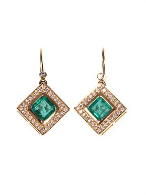 Diamond, emerald & yellow-gold earrings