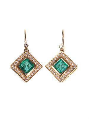 Diamond, emerald & yellow-gold earrings