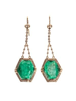 Diamond, emerald & gold earrings