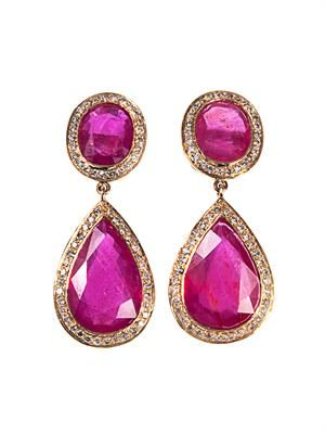 Diamond, ruby & yellow-gold earrings