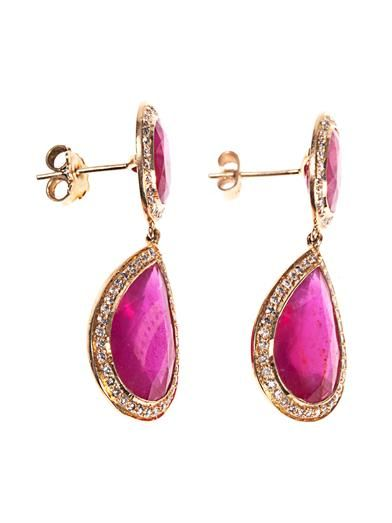 Jade Jagger Diamond, ruby & yellow-gold earrings