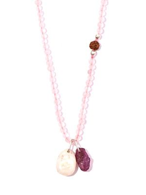 Rose quartz, ruby and pearl necklace