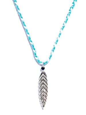Sapphire silver feather necklace