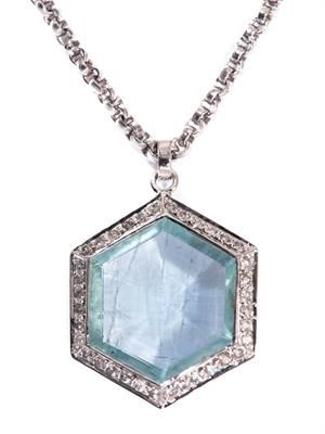 Diamond, aquamarine & white-gold necklace
