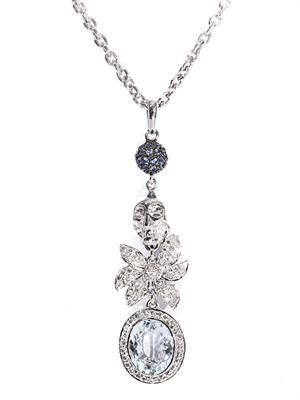 Diamond, aquamarine & gold necklace