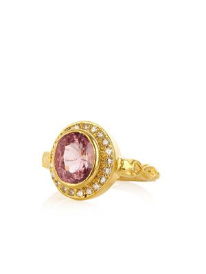 Spinel, diamond  & yellow gold ring