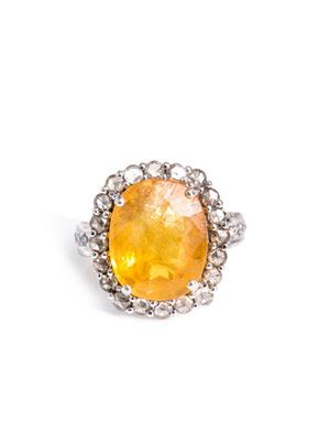 Yellow sapphire, diamond & gold ring