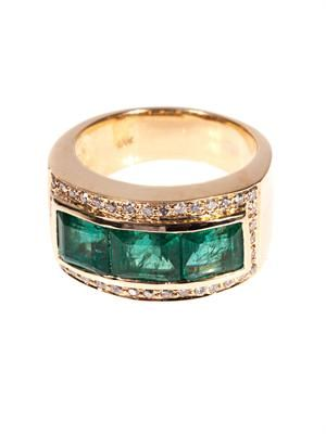 Diamond, emerald & yellow-gold ring