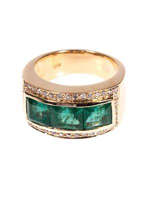 Diamond, emerald & yellow-gold ring
