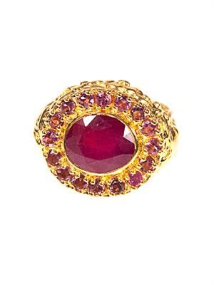 Ruby & gold-plated ring