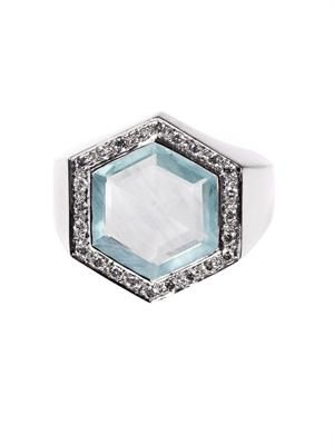 Diamond, aquamarine & white-gold ring