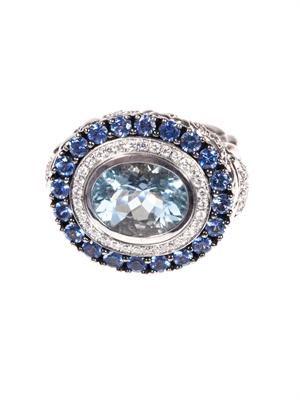 Diamond, aquamarine, sapphire & gold ring