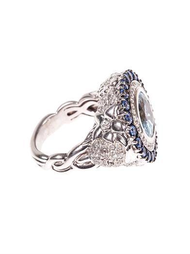 Jade Jagger Diamond, aquamarine, sapphire & gold ring