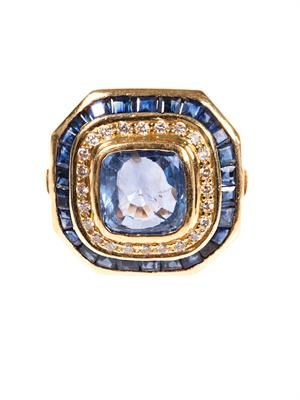 Diamond, sapphire & yellow-gold ring