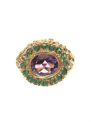 Amethyst, emerald & gold-plated ring