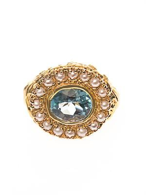Aquamarine, pearl & gold-plated ring