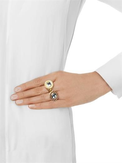Jade Jagger Aquamarine, pearl & gold-plated ring