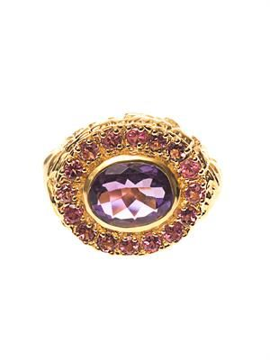 Amethyst, ruby & gold-plated ring
