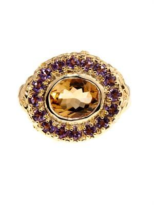 Citrine & amethyst gold-plated ring