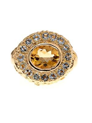 Citrine & aquamarine gold-plated ring