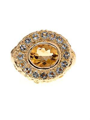 Citrine & aquamarine gold-plated ring