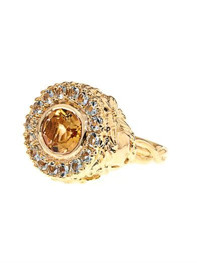 Jade Jagger Citrine & aquamarine gold-plated ring