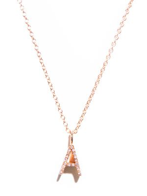 Diamond and gold upper-case 'A' necklace