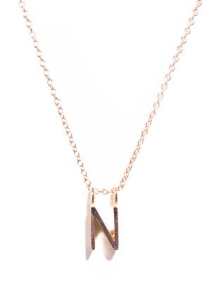 Rose gold upper-case letter 'N' necklace
