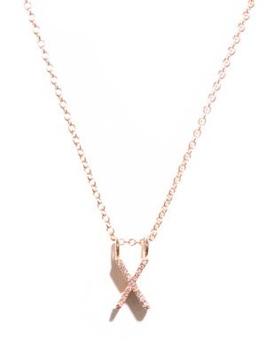 Diamond and gold upper-case 'X' necklace