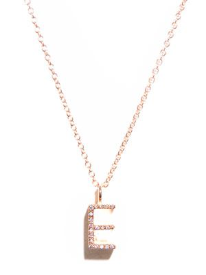 Diamond and gold upper-case 'E' necklace