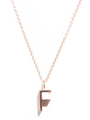 Rose gold upper-case letter 'F' necklace