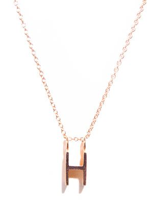 Rose gold upper-case letter 'H' necklace