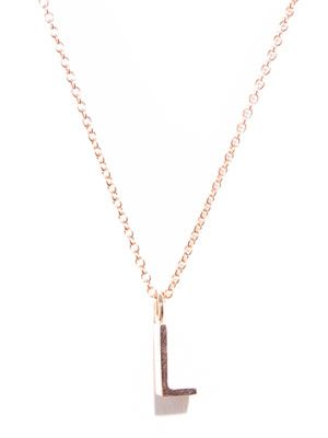 Rose gold upper-case letter 'L' necklace