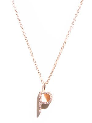 Diamond and gold upper-case 'P' necklace