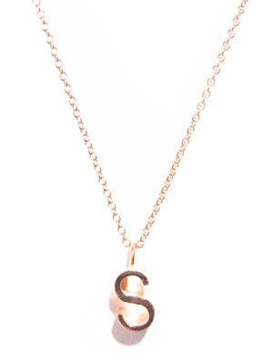 Rose gold upper-case letter 'S' necklace