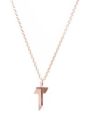Rose gold upper-case letter 'T' necklace
