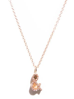 Diamond and gold '&' pendant necklace