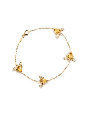 Citrine & diamond bee bracelet