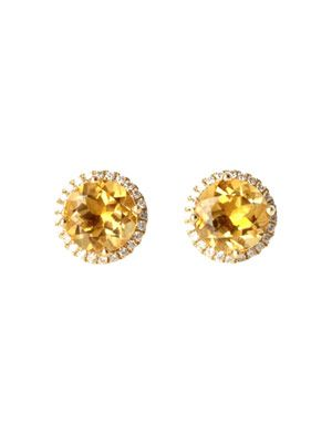 Citrine & diamond stud earrings