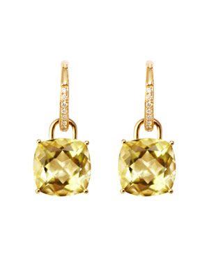 Lemon quartz & diamond hoop earrings