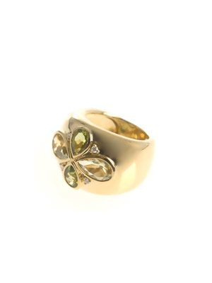Lemon quartz, diamond & gold ring