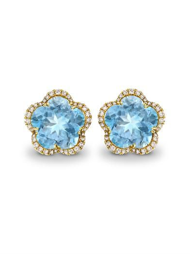 Kiki McDonough Diamond, blue-topaz & gold Eden earrings