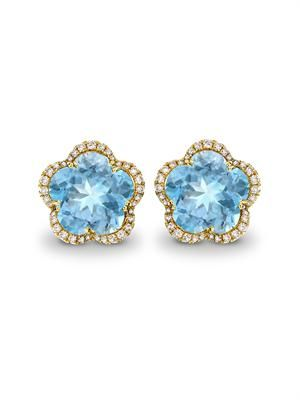 Diamond, blue-topaz & gold earrings