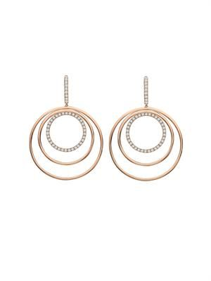Diamond & gold triple-hoop earrings